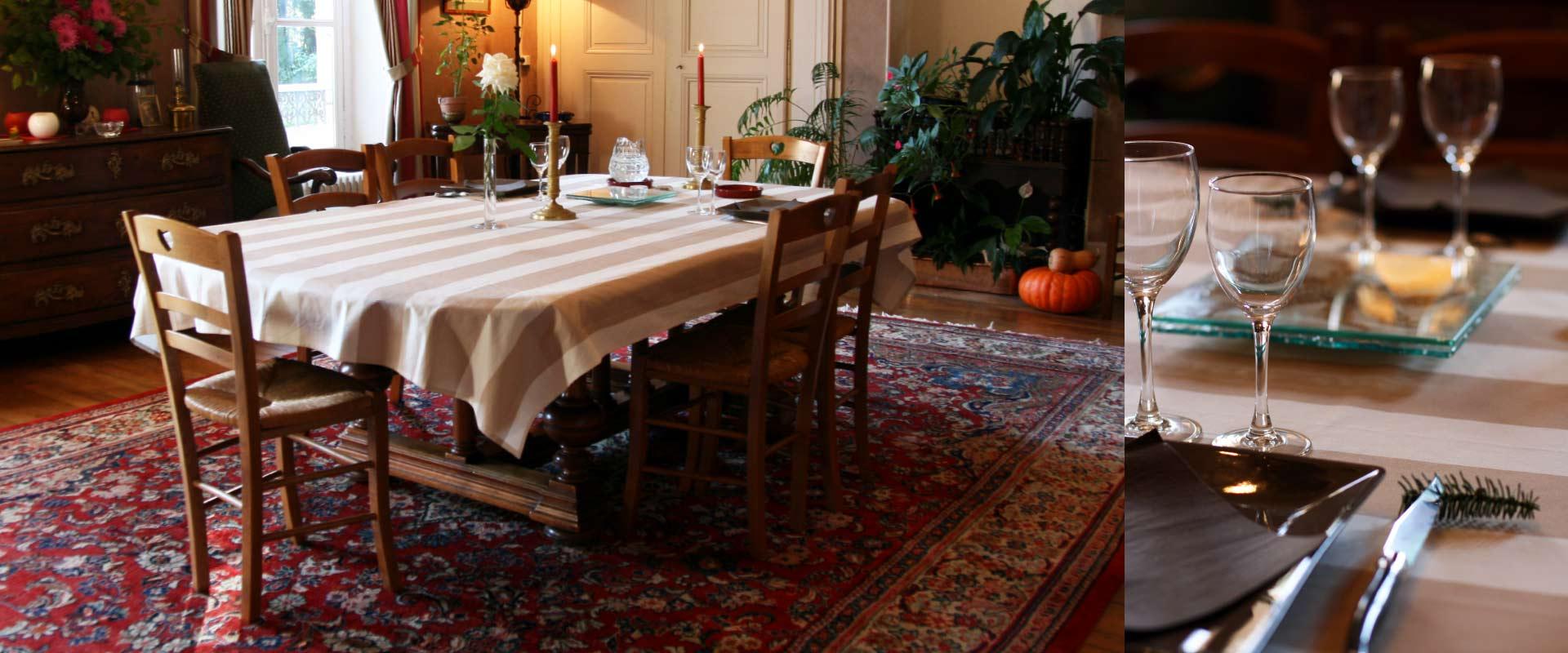 table d'hôte au Manoir de Curty à Imphy